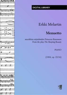 Menuetto musiikista näytelmään Prinsessa Ruusunen - piano (PDF)